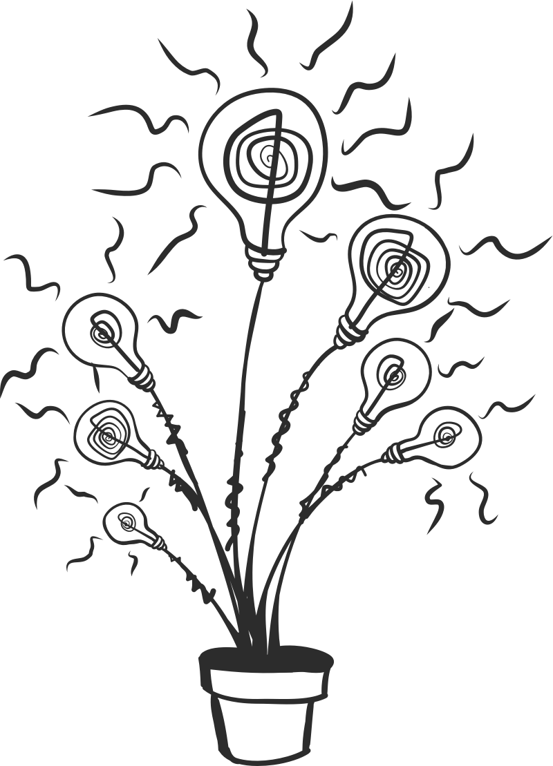 Abstract illustration of a flower where leaves are replaced by light bulb