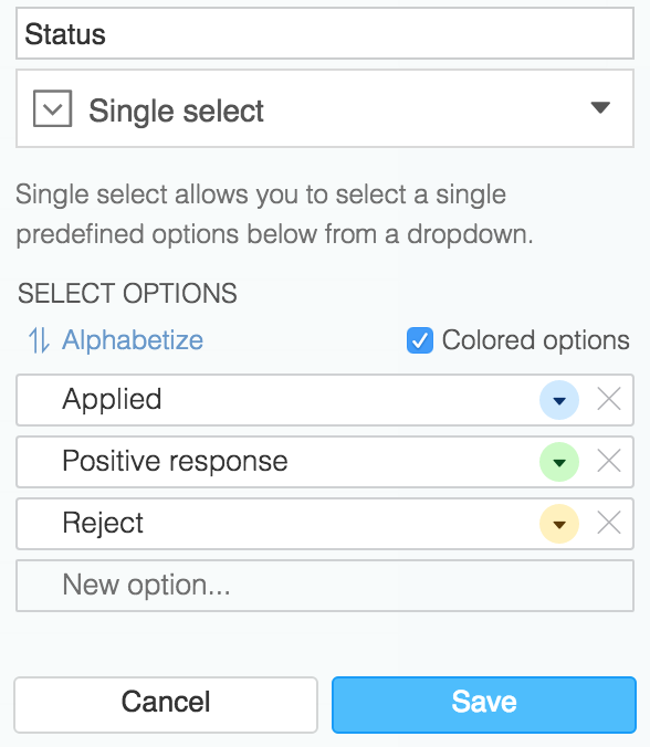 Single select config in Airtable